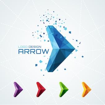 Logotipo de flecha triangular abstracto o signo o símbolo. ilustración vectorial