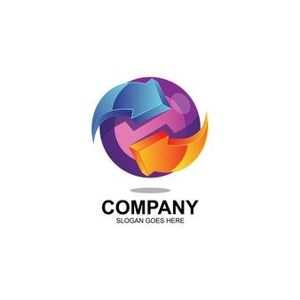 Logotipo de flechas y esfera