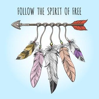 Logotipo de flechas y plumas de indios