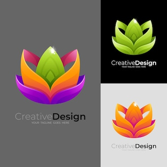 Logotipo de flor abstracta con diseño colorido