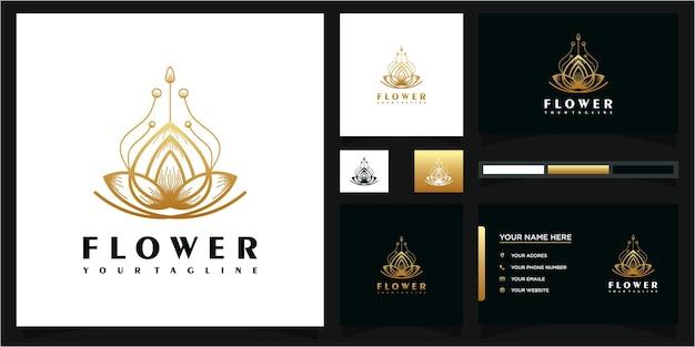 Logotipo de flor abstracta y referencia de tarjeta de visita premium vector.
