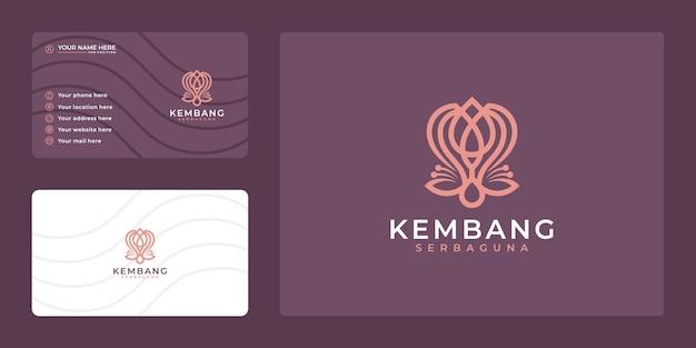 Logotipo de flor de belleza de arte de línea de lujo y tarjeta de visita.