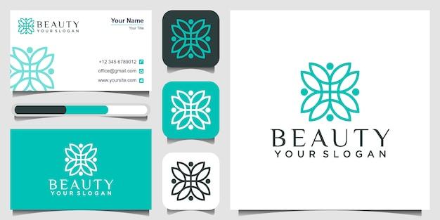 Logotipo de flor, concepto de belleza y tarjeta de visita