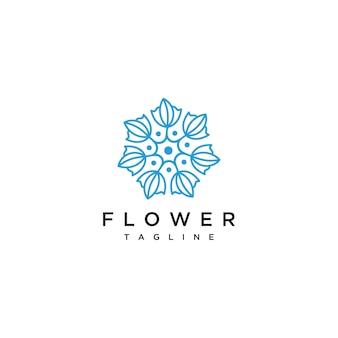 Logotipo de flor dibujado con líneas mínimas.