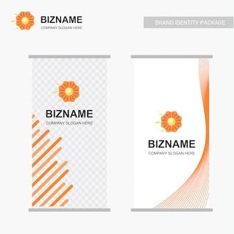 Logotipo de la flor y diseño de stand de negocios
