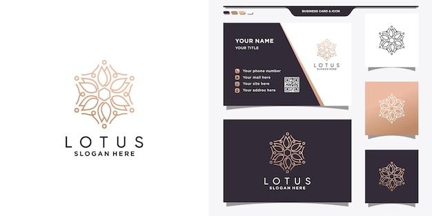 Logotipo de flor elegante con estilo lineal y diseño de tarjeta de visita.