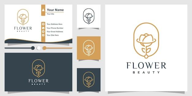 Logotipo de flor con estilo de arte de línea de belleza y diseño de tarjeta de visita