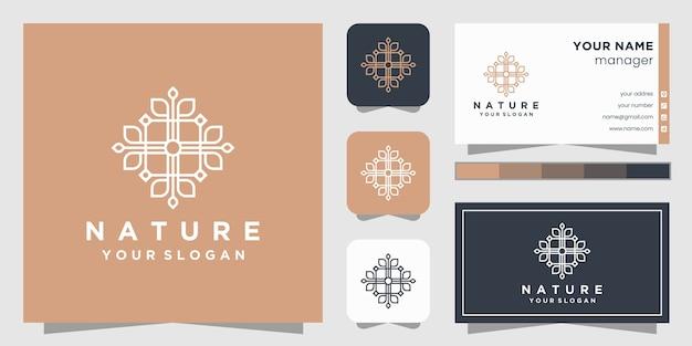 Logotipo de flor con estilo de arte lineal y tarjeta de visita.