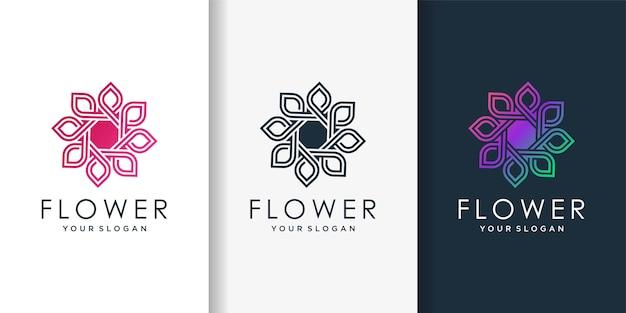 Logotipo de flor con estilo degradado moderno de belleza, mujer, flor, spa, salud,