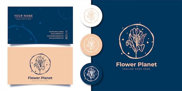 Logotipo de flor floreciente con tarjeta de visita