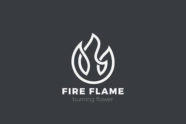 Logotipo de la flor de fuego. estilo de contorno lineal de llama.