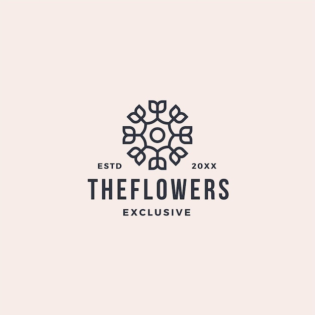 Logotipo de flor de hoja de línea abstracta de lujo