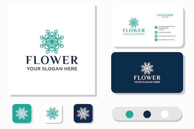 Logotipo de la flor. icono y tarjeta de visita
