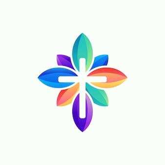 Logotipo de flor de iglesia, plantilla