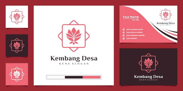 Logotipo de la flor de loto. centro de yoga, spa, logo de lujo de salón de belleza. diseño de logotipos y tarjetas de presentación.