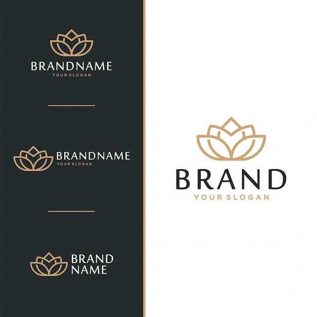Logotipo de la flor de loto y el concepto de diseño de iconos.