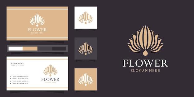 Logotipo de flor de loto creativo y tarjeta de visita.