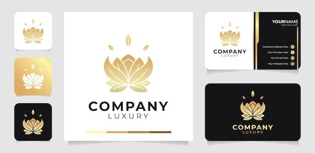 Logotipo de flor de loto de lujo y plantilla de tarjeta de visita