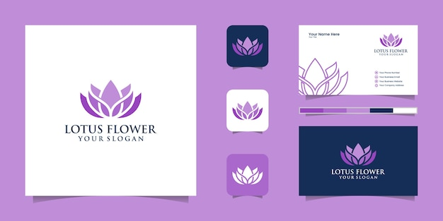 Logotipo de flor de loto y tarjeta de visita