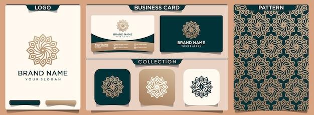 Logotipo de flor de lujo abstracto con conjunto de patrón y tarjeta de visita