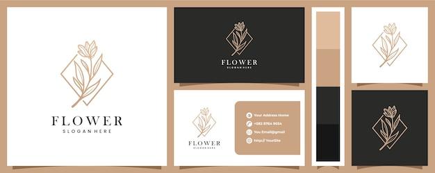 Logotipo de flor de lujo con plantilla de tarjeta de visita