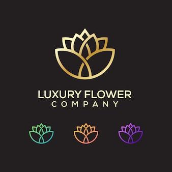Logotipo de flor de lujo premium