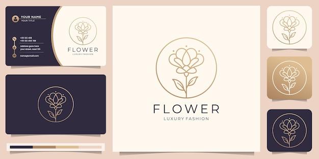 Logotipo de flor minimalista con plantillas en forma de marco y tarjeta de visita