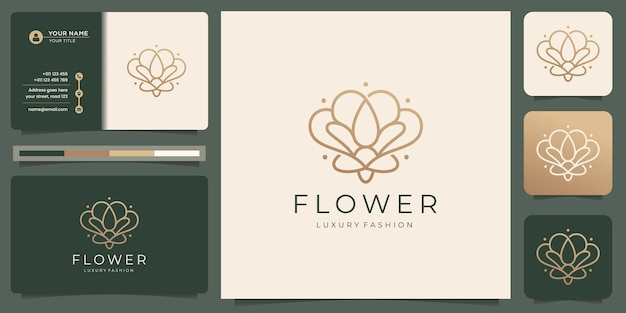 Logotipo de flor minimalista y tarjeta de visita.