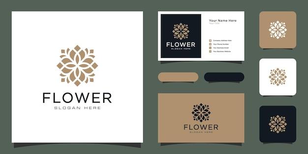 Logotipo de flor monoline de lujo con diseño de tarjeta de visita.