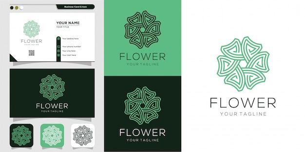 Logotipo de la flor y plantilla de diseño de tarjeta de visita. belleza, moda, salón, tarjetas de visita, spa, icono