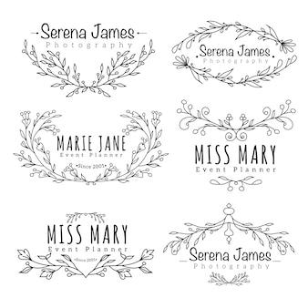 Logotipo floral para la colección de fotografía de boda.