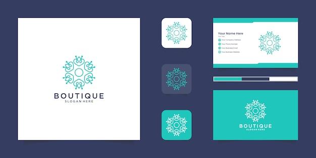 Logotipo floral elegante minimalista para belleza, cosmética, yoga y spa. diseño de logo y tarjeta de presentación