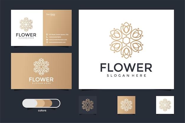 Logotipo floral elegante minimalista para belleza, cosmética, yoga y spa. diseño de logotipo y tarjeta de visita