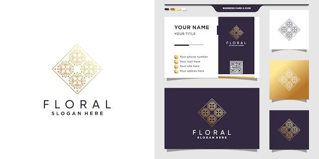 Logotipo floral con estilo de arte lineal y diseño de tarjeta de visita vector premium