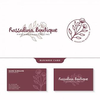 Logotipo floral femenino, logotipo de flores silvestres con plantilla de tarjeta de visita