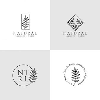 Logotipo floral femenino modelo editable elegante y elemento simple