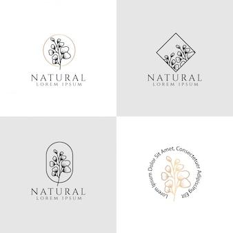 Logotipo floral femenino plantilla editable tema elegante y simple
