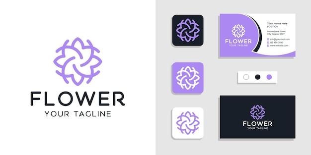 Logotipo floral de flores y plantilla de tarjeta de visita inspirada