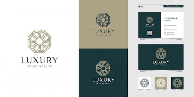 Logotipo floral de lujo y tarjeta de visita ingenio línea arte diseño. elegante, belleza, moda, empresa, empresa premium