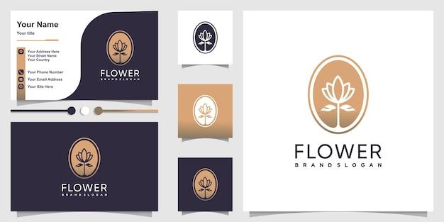 Logotipo de flores con un concepto único y fresco y un diseño de tarjeta de visita.