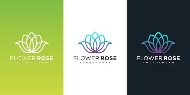 Logotipo de flores con estilo de arte lineal