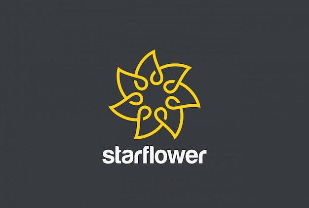 Logotipo de flores estilo lineal