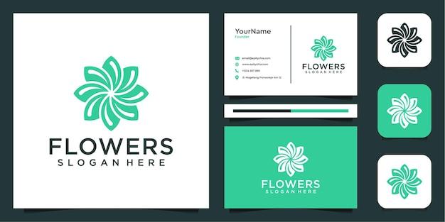 Logotipo de flores femeninas e inspiración para tarjetas de presentación