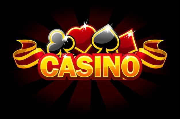 Logotipo de fondo de casino con carteles de tarjetas de juego.