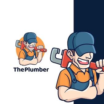 Logotipo de fontanero de dibujos animados