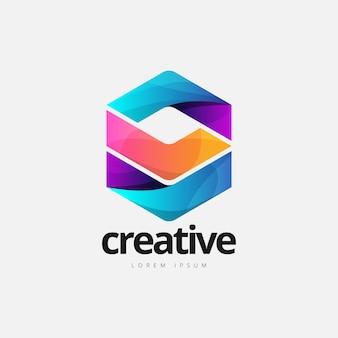 Logotipo de forma de cubo colorido abstracto