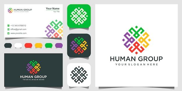 Logotipo de forma geométrica, hexágono y tarjeta de visita