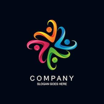 Logotipo de forma de pueblos en vector