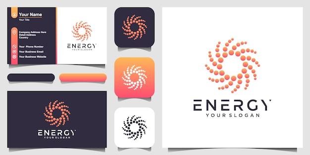 Logotipo de forma redonda abstracta solar y tarjeta de visita. ilustración de logotipo de sol estilizado punteado.