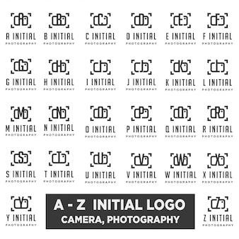 Logotipo de fotografía con diseño de vector de colección de carta